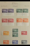 1937-1949 COMPLETE VERY FINE MINT COLLECTION  On Leaves, Includes 1938-44 Set Incl 1d Green Imprint Pair (stamps NHM), 1 - Saint Helena Island