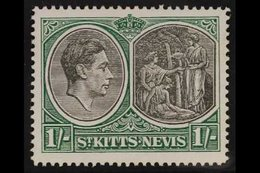 1938-50  1s Black & Green Ordinary Paper Perf 14 BREAK IN VALUE TABLET FRAME Variety, SG 75ba, Very Fine Mint, Very Fres - St.Kitts And Nevis ( 1983-...)