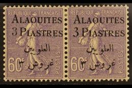 ALAOUITES  1925 3pi On 60c Violet, Horizontal Pair Types I & II, Yv 11/11b, Very Fine Mint. For More Images, Please Visi - Syria