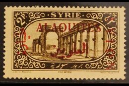 """ALAOUITES  1925 2p Sepia Airmail Ovptd In RED, Variety """"surcharge Reversed"""" (Avion At Right), Yv PA5 Var, Vf Never Hinge - Syria"""