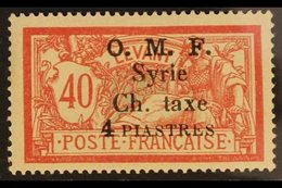 """POSTAGE DUES  1920 4pi On 40c Red And Pale Blue, Variety """"Thin 4"""", SG D51a, Very Fine Mint. For More Images, Please Visi - Syria"""