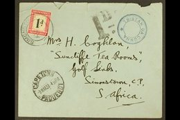 """1937  Stampless Envelope From Tristan To South Africa, Franked With 28mm SG C6, Cachet V In Violet, Cover With """"Cape Tow - Tristan Da Cunha"""