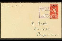 "1949  (15 DEC) Hand Addressed Cover To Cape Town Bearing SWA 1½d Tied By ""TRISTAN DA CUNHA / SETTLEMENT OF / EDINBURGH / - Tristan Da Cunha"