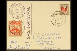"""1962 """"POTATO STAMP"""" COVER  1962 (7 FEB) To South Africa Bearing 1946 1d Red (4 Potatoes) Local Value Stamp Featuring Pen - Tristan Da Cunha"""