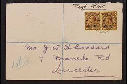 """1917  (20 Sept) Pair Of Matching Envs Registered To England Bearing """"War Tax"""" 3d Purple / Yell-buffs Pair (SG 141) And 1 - Turks And Caicos"""