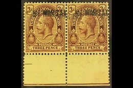 """1917  3d Purple / Yellow With """"WAR TAX"""" DOUBLE, SG 144a, Never Hinged Mint PAIR With Sheet Margin At Base. For More Imag - Turks And Caicos"""