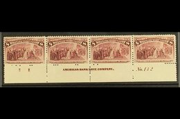 1893  8c Magenta Columbian Expo, SG 241 (Scott 236), Plate Number Strip Of Four With Full Imprint And Letter, Lovely Fre - Unclassified