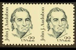 1980-5  22c Dark Chalky Blue, Audubon, Horizontal Pair, IMPERFORATE BETWEEN VARIETY With A Very Light Impression Of Vert - Unclassified