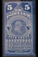 """NEWSPAPER STAMP  5c Dark Blue, Coloured Border, Scott PR1, Unused Without Gum As Issued, Expertised By """"Champion"""" & One  - Unclassified"""
