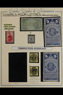NEWSPAPER STAMPS  1865-97 Wide Range Of Different Types Incl. 1865-75 Large Stamps, Incl. Two 10c Blue-green, 25c Orange - Unclassified