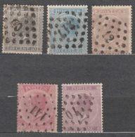 Belgium 1865 Complete Set Mi#14-18 Used - 1865-1866 Profile Left