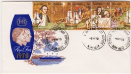 Australia 1970 Cook Bicentenary Strip On Royal Tour Souvenir Envelope - Sydney Airport - 1966-79 Elizabeth II