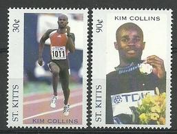 St Kitts 2002 Kim Collins  Y.T. 1063/1064 ** - St.Kitts-et-Nevis ( 1983-...)
