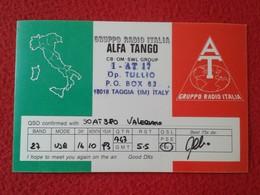 POSTAL POST CARD QSL RADIOAFICIONADOS RADIO AMATEUR GRUPPO ALFA TANGO ITALIA ITALY MAP MAPA FLAG BANDERA VER FOTOS Y DES - Cartes QSL