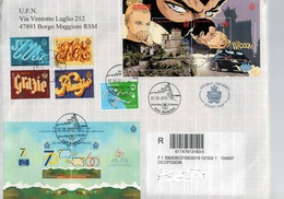 San Marino 2019 Busta FDC Comics(diabolik) - Europei U21 Calcio - 70° Consiglio Europa - Parole Educate  ° VFU - Usati