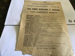 Conseil De La République élection  Collège Départementale 1946 Liste D'union Républicaine Est Résistante Parti Communis - Historical Documents