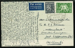 Ref 1304 - 1952 Finland Postcard To Holland - Olympic Stadium With Special Olympic Postmark - Olympic Games