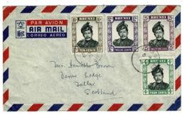 Ref 1304 - 1956 Airmail Cover Kuala Belait Brunei 51c Rate Scotland - Super 4 Colour Stamps Franking - Brunei (1984-...)