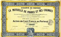 SOCIETE DE GESTION DE LA MUTUELLE DE FRANCE ET DE COLONIES 1907 - Banque & Assurance