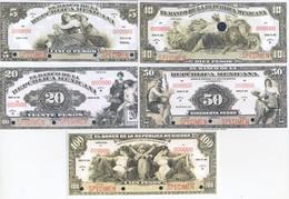 Mexico 5 Note Set 1918 COPY - Mexico