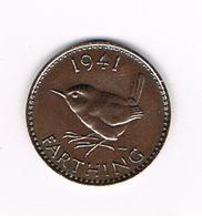 //  GREAT BRITAIN  FARTHING  1941 GEORGE VI - 1902-1971: Postviktorianische Münzen