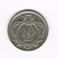 //  OOSTENRIJK  10  HELLER  1907 - Autriche