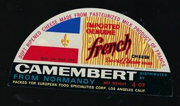 Etiquette Fromage  1/2 Demi Camembert French Normandy Davis Elkaim EXPORT - Fromage
