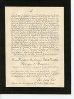 ST BONNET DE BELLAC 87 CHATEAU DE BAGNAC FAIRE-PART DE DECES DE J.B.A. DE ST-MARTIN MARQUIS DE BAGNAC 1892 - Esquela