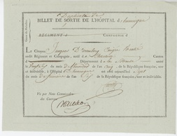 Billet De Sortie De L'Hôpital D'Huningue Charleroi Généalogie D'Aremberg  An 5 - Documents Historiques