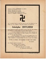 WWII - Faire Part De Décès Satirique Adolf HITLER Militaria - Faute D'orthographe ! - Voir Le Scan - 1939-45