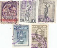 12553-LOTTICINO N°. 5 MARCHE DA BOLLO FISCALI GRECIA - Fiscali