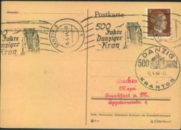 """1944, Postkrte Mit Seltenem Rollstempel """"500 Jahre Danziger Kran"""" Sowie Handstempel - Dantzig"""