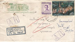 Thailand 1978 Bangkok 2 Buddhism Cutting Hair Registered AR Advice Of Receipt Returned Domestic Cover - Buddhism