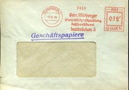 45661 Saar  Sarre  , Red Meter Freistempel Ema 1953  Kaffeerosterei , Coffee, Kaffee, Cafè, Saarbrucken - Covers & Documents