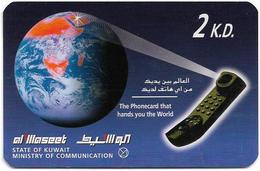 Kuwait - Swiftel - Globe And Phone (Thin Card), Remote Mem. 2KD, Used - Kuwait