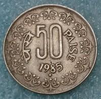 "India 50 Paise, 1985 Mintmark ""*"" Below 8 - Hyderabad -2727 - Inde"