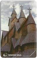 Norway - Telenor - Church Heddal Stavkirke - N-244B (Cn. 23030 001EE), 04.2002, 20.000ex, Used - Norwegen