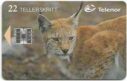 Norway - Telenor - Gaupe, Lynx - N-112 - (Cn. C83023151), 03.1998, 22U, 19.945ex, Used - Norway