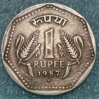 "India 1 Rupee, 1987 Mintmark ""*"" - Hyderabad -4342 - Inde"