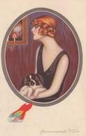 ART DECO ; NANNI ;  Woman & Dog , 1910-20s - Nanni
