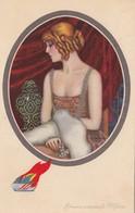ART DECO ; NANNI ;  Woman Wearing Pearl Necklace , 1910-20s - Nanni