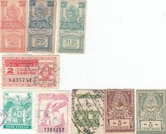 12556-LOTTICINO N°. 9 MARCHE DA BOLLO FISCALI URUGUAY-PARAGUAY-ARGENTINA - Postzegels