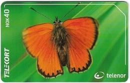 Norway - Telenor - Oransjegullvinge  Butterfly - N-208 - 07.2001, 47.000ex, Used - Norway