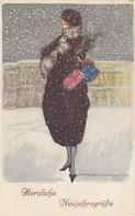 ART DECO ; NANNI ;  Female Fashion Portrait , CHRISTMAS, 1910-20s - Nanni
