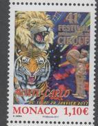 MONACO , 2017, MNH, CIRCUS, LIONS, TIGERS,  1v, EMBOSSED - Circus