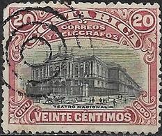 COSTA RICA 1900 Telegraph Stamp - National Theatre - 20c Black And Red FU - Costa Rica