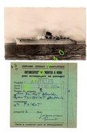 CARTE POSTALE PAQUEBOT ANTILLES + AUTORISATION DE MONTER A BORD LORS D'UN VOYAGE LE 21/10/1955 - Dampfer
