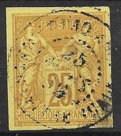 COLONIES GENERALES : SAGE 25c JAUNE BISTRE N° 44 OBLITERATION CACHET PAQUEBOT POINTE A PITRE - Sage