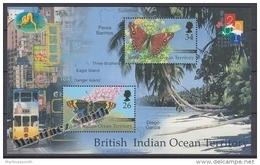 British Indian Ocean 2001 Yvert BF 15, Hong Kong 2001 Philatelic Exhibition, Butterflies - Miniature Sheet- MNH - Territoire Britannique De L'Océan Indien