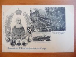 CPA - Souvenir De L'Etat Indépendant Du Congo - Leopold II - Chemin De Fer - Steamer Leopoldville - Congo Belge - Autres
